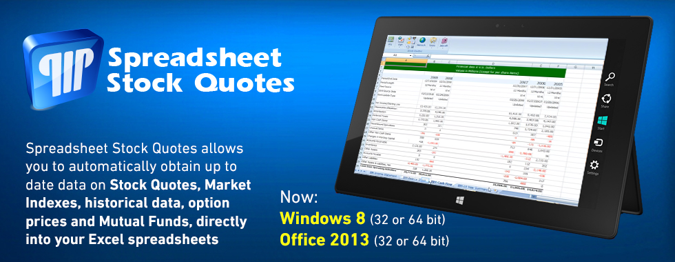 Stock Quotes for Excel